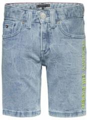Blauwe Tommy Hilfiger slim fit jeans bermuda met logo en borduursels light denim