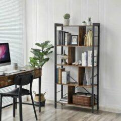 Bruine Vasagle Nancy's Boekenkast - Boekenkasten - Boekenkast Industrieel - Boekenkast Hout