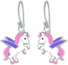 Oorbellen meisje | Kinderoorbellen meisje zilver | Eenhoorn oorbellen | Zilveren oorhangers, eenhoorn met paarse vleugels | WeLoveSilver