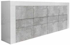 Pesaro Mobilia Dressoir Easy 181 cm breed - Hoogglans wit met grijs beton
