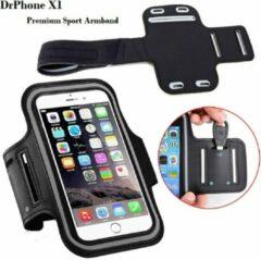 DrPhone X1 - Reflecterende Sportarmband - Premium Hardloop Band voor elke Sport - Waterafstotend - Comfortabel - Verstelbaar - Oordoppen, Kaart en Sleutelvak Universeel Geschikt voor Smartphone modellen van 4,7 inch tot 5.5 inch (maat L) in het zwart