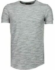 Grijze T-shirt Korte Mouw Tony Brend Sleeve Ribbel - T-Shirt