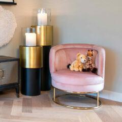 Richmond Interiors Richmond Fauteuil 'Felicia' Velvet, kleur Roze / Goud