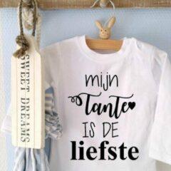 Witte Merkloos / Sans marque Baby shirt cadeau jongen meisje tekst tante Baby shirt cadeau jongen meisje tekst eerste moederdag mama vaderdag papa Baby T-shirt Maat 86