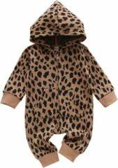 Beige Merkloos / Sans marque Babykleding Meisje - Boxpakje Luipaardprint - Panterprint - Jumpsuit Baby - Onesie Baby Panter - Met Rits - Maat 70