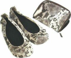 Bruine Meander elegant home accesoires Pocket Shoe Pythonprint maat 36/37 - slofje voor onderweg