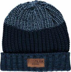 Sarlini Muts heren - Winter - Gebreid - One size - Donkerblauw - Blauwe bovenkant - Ski