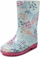 Merkloos / Sans marque Blauwe peuter/kinder regenlaarzen gekleurde bloemetjes - Rubberen bloemenprint laarzen/regenlaarsjes voor kinderen 24
