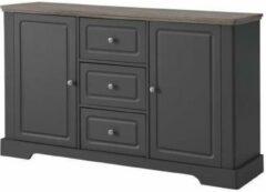 Andere DESSY Klassiek laag dressoir in matgrijs en houten dienblad - L 139 cm