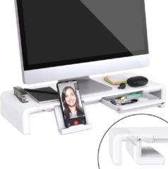 JC® Opvouwbare monitorstandaard wit | met telefoon en tablet houder | schuif lade | sterk en inklapbaar | monitor scherm laptop stand standaard verhoging wit