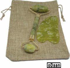 Groene Verbeterde Jade Roller + Gua Sha - Inclusief Opberg Zakje - Anti Rimpels - Gezicht Massage - oDaani