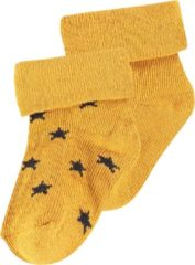 Gele Noppies Unisex U Socks 2 pck Levi Stars - Honey Yellow - Maat 0M-3M