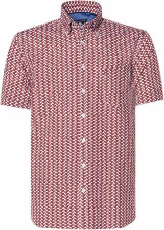 Afbeelding van Donkerrode Campbell Classic Casual Heren Overhemd KM