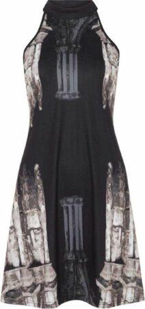 Afbeelding van Church Column halter nek jurk zwart - L - Jawbreaker