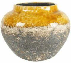 Ter Steege Jar Lindy Ochre Okergele ronde lage vaas voor binnen 28 cm