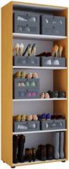 Schuhschrank Schuhregal Schuhkommode Standschrank Universal Schrank Regal 'Vandol 5 Fächer' VCM Ohne Türen: Buche