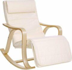 Acaza Schommelstoel Met Voetensteun en Zijzakje in Zweedse Stijl - Verstelbare Ligstoel – Relaxing Chair – Linnen – Beige