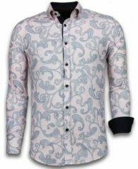 Tony Backer Italiaanse Overhemden - Slim Fit Overhemd - Blouse Baroque Pattern - Roze Casual overhemden heren Heren Overhemd Maat 3XL