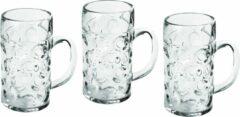 Transparante Santex 3x Bierpullen/bierglazen 1 liter/100 cl/1000 ml van onbreekbaar kunststof - 1 liter pullen - Bierfeest/Oktoberfest pul - Bierpul glazen