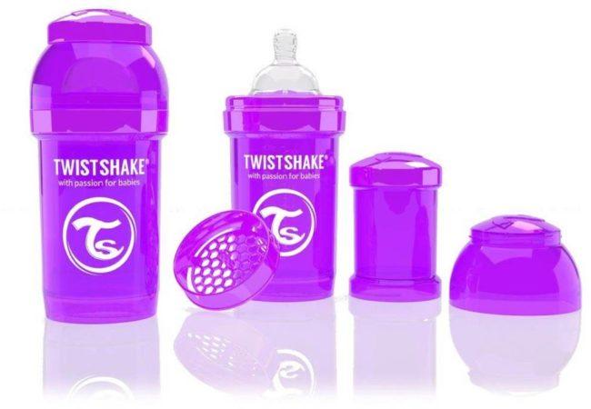 Afbeelding van Paarse Twistshake Anti-colic babyfles - Purple Bestie - 330ml - maat L - 4+ mnd