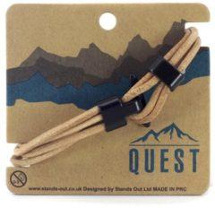 Quest Leren Armband 4 Band Zand Q14