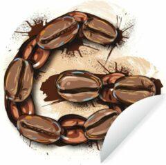 WallCircle Illustratie van de letter G van koffiebonen Wandcirkel behangsticker 100x100 cm / behangcirkel / muurcirkel / wooncirkel - zelfklevend & rond uitgesneden