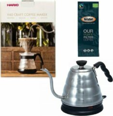 Hario V60 slow coffee kit + Hario V60 Buono Elektrische Waterketel + Bristot OUR Biologische Filter Koffie