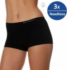 Brubeck dames ondergoed boxershorts naadloos elastisch katoen 3 pack zwart