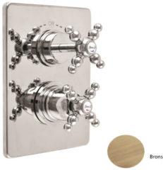 Inbouw Douchekraan Sanimex Giulini Thermostatisch 2-Weg Kruisgreep Rechthoekig Inclusief Inbouwdeel Brons