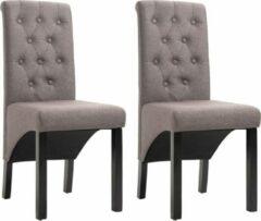 Merkloos / Sans marque Eetkamerstoelen met Knopen Stof Taupe 2 STUKS / Eetkamer stoelen / Extra stoelen voor huiskamer / Dineerstoelen / Tafelstoelen / Barstoelen