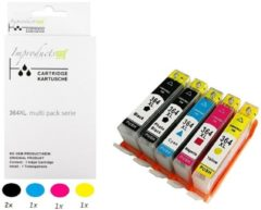 Paarse Improducts® Huismerk Inktcartridge Alternatief Hp 364 XL 364XL serie set van 5 cartridges 2x zwart 364xl 1x cyaan 364xl 1x magenta 364xl 1x geel 364xl MET Nieuwste CHIP - 1 set