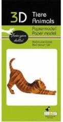 Fridolin 3D puzzel en bouwpakket roodbruine kat van karton