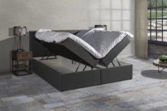 Antraciet-grijze Anno 1588 Boxspring SENTO - Boxspring met opbergruimte - Pocketvering - Luxe topper - Antraciet - 180x200 cm