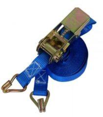 Blauwe Merkloos / Sans marque Sjorband met ratelgesp en haken - spanband