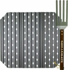 GrillGrate Grill Grate 46CM set afgeschuind voor kamado (L) Large Grills 18'' (inclusief vork/grate tool)