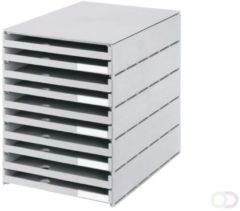 Grijze Huismerk Styro ladenblok Styroval met 10 open laden grijs