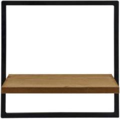Zwarte Merkloos / Sans marque Wandrek inclusief Plank - Metaal in combinatie met MDF Hout - Industrieel Design - Stoer en Multi Functioneel - 25x15x25 cm - Vierkante variant
