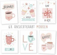 Lichtblauwe Kimago.nl Wenskaarten - kaartenset - ansichtkaarten - Mokken - verjaardag - diverse - 6 stuks