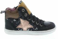 Bruine Shoesme hoge zwarte sneaker met glimmende pailletten en shiny ster...
