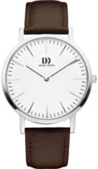 Zilveren Danish Design watches unisexhorloge London White Silver/Brown Large IQ12Q1235