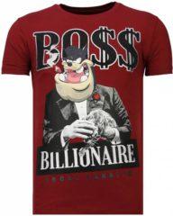 Gouden Local Fanatic Billionaire Boss - Rhinestone T-shirt - Bordeaux - Maten: XL