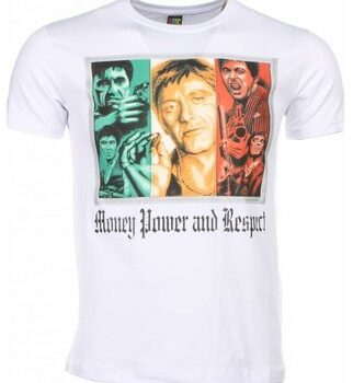 Afbeelding van Witte T-shirt Korte Mouw Local Fanatic - Masch. T-shirt - Scarface Money Power Respect Print