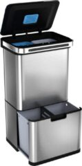 StangVollby Halden Prullenbak met Sensor - 60 L - Afvalscheidings Vuilbak - RVS - 4 vakken - Automatisch Lucht Filter - 60 liter (2×18L + 2×12L) - Automatische Soft Close deksel met Infrarood Sensor - 4 vaks Afvalemmer - Bacterie Filter - Design