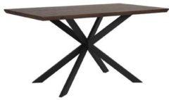 Beliani Eetkamer tafel donker hout / zwart 140 x 80 cm. SPECTRA
