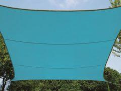 Lichtblauwe Merkloos / Sans marque ZONNEZEIL RECHTHOEK 4 x 3 m HEMELSBLAUW
