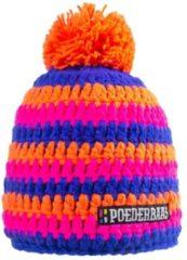 Poederbaas muts voor dames One Size - oranje/roze/donkerblauw, skimuts met fleece aan de binnenzijde, skimuts voor wintersport, wintersport muts