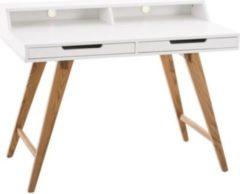 CLP Holz-Schreibtisch EATON mit robustem Eichenholzgestell I Bürotisch mit 2 Schubladen und großer Arbeitsfläche I In verschiedenen Größen erhältlich