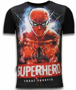 Afbeelding van Local Fanatic Superhero - Digital Rhinestone T-shirt - Zwart Superhero - Digital Rhinestone T-shirt - Zwart Heren T-shirt Maat XL