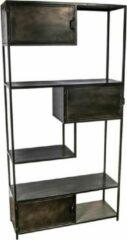 Antraciet-grijze Vtw Living Industriële kast van metaal - Vakkenkast - Kast - Dressoir - Industrieel - Luxe - Premium - Boekenkast - Metaal - Metalen kast - 198 cm hoog
