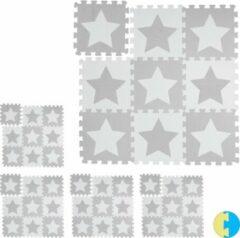 Relaxdays 45 x puzzelmat ster - speelmat - speelkleed - vloerpuzzel - speeltapijt – grijs